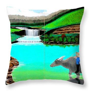 Waterfalls And Man Riding A Carabao Throw Pillow by Cyril Maza