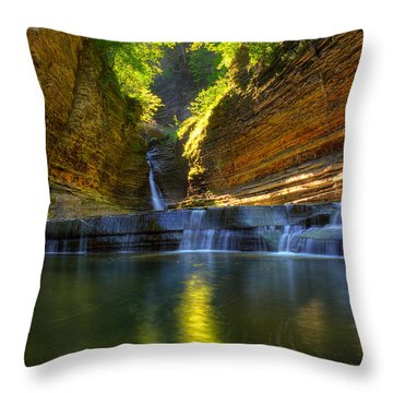 Waterfalls At Watkins Glen State Park Throw Pillow