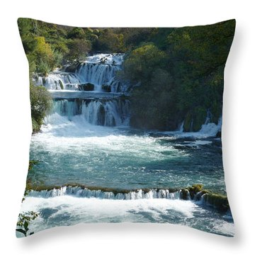 Waterfalls - Krka National Park - Croatia Throw Pillow