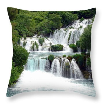 Waterfalls Of Plitvice Throw Pillow