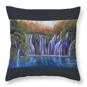 Throw Pillow featuring the painting Waterfalls - Plitvice Lakes by Vesna Martinjak