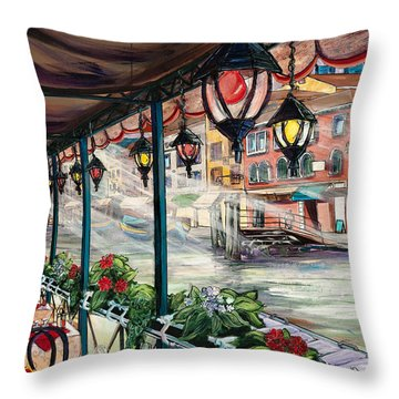 Waterfront Cafe Throw Pillow
