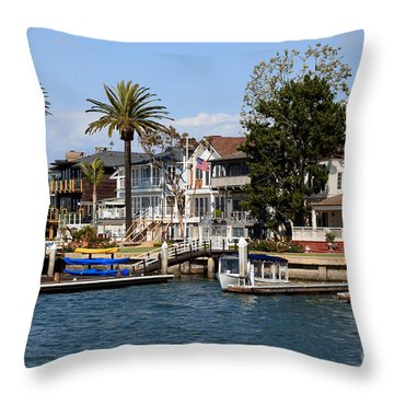 Waterfront Luxury Homes In Orange County California Throw Pillow by Paul Velgos