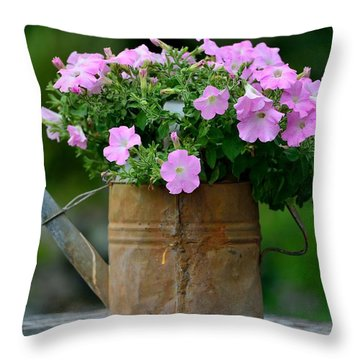 Watering Can And Flowers Throw Pillow by Kathy King
