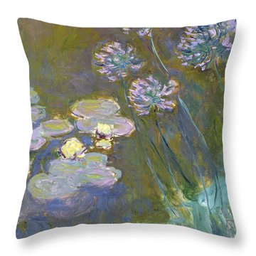 Waterlilies And Agapanthus Throw Pillow