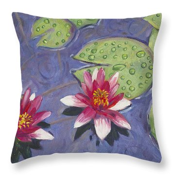 Waterlilies In The Rain Throw Pillow