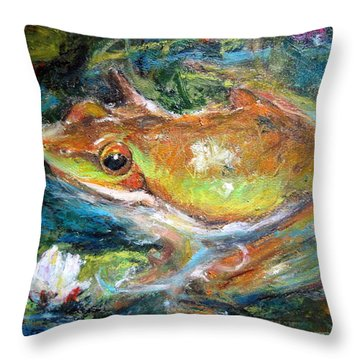 Waterlily And Frog Throw Pillow by Jieming Wang