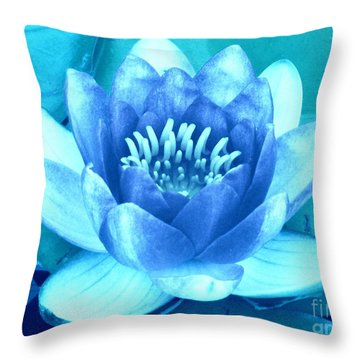 Waterlily Blue 2 Throw Pillow by Margaret Newcomb