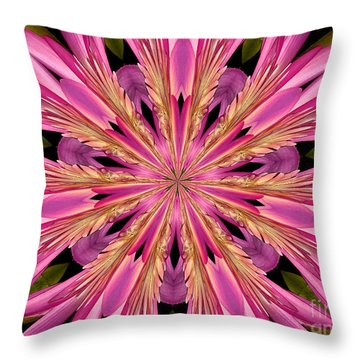 Throw Pillow featuring the photograph Waterlily Flower Kaleidoscope 4 by Rose Santuci-Sofranko