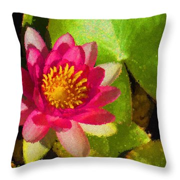 Waterlily Impression In Fuchsia And Pink Throw Pillow