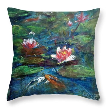 Waterlily In Water Throw Pillow by Jieming Wang