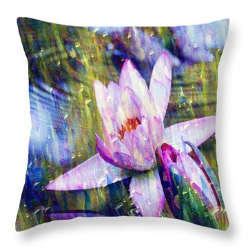 Purple Waterlily Paradise Throw Pillow by Carol F Austin
