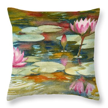 Waterlily Pond Throw Pillow