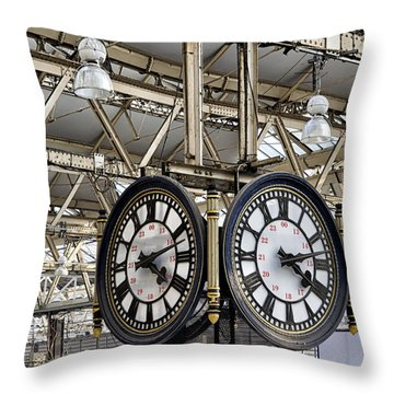 Throw Pillow featuring the photograph Waterloo Clock by Shirley Mitchell