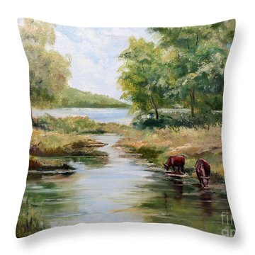 Throw Pillow featuring the painting Waterloo by Lee Piper