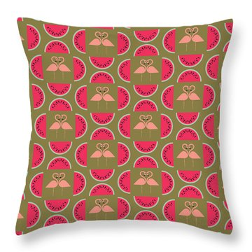 Watermelon Flamingo Print Throw Pillow by Susan Claire