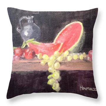 Watermelon Plums And Grapes Throw Pillow
