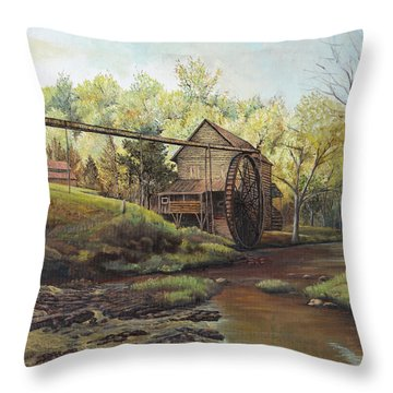 Throw Pillow featuring the painting Watermill At Daybreak  by Mary Ellen Anderson