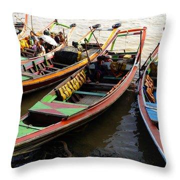 Watertaxis At The Yangon River Nan Thida Ferry Terminal Yangon Myanmar Throw Pillow