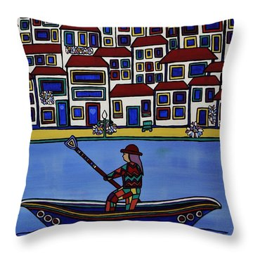 Watery Venice Throw Pillow by Barbara St Jean