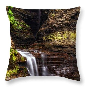 Watkins Glen Cavern Cascade Throw Pillow