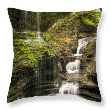 Watkins Glen Rainbow Falls Throw Pillow
