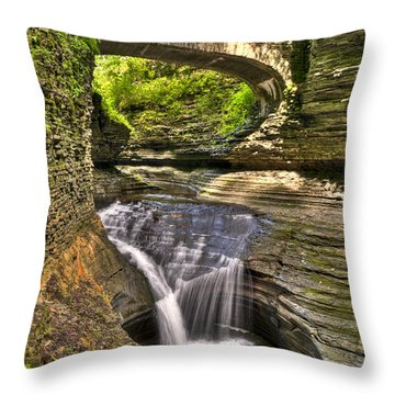 Watkins Glen Waterfalls Throw Pillow by Anthony Sacco