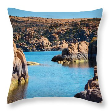 Watson Lake In The Fall Throw Pillow by Diane Wood