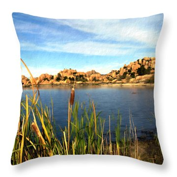 Watson Lake Throw Pillow by Kurt Van Wagner