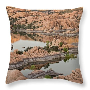 Watson Lake Sunset Throw Pillow