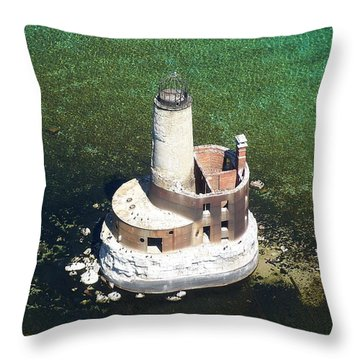Waugoshance Lighthouse Throw Pillow