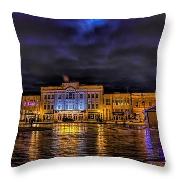 Wausau Ice Rink After Dark Throw Pillow