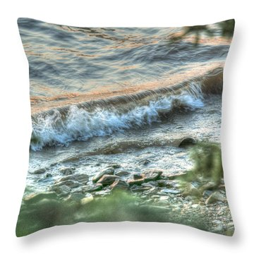 Wave Action Throw Pillow by Jan Davies