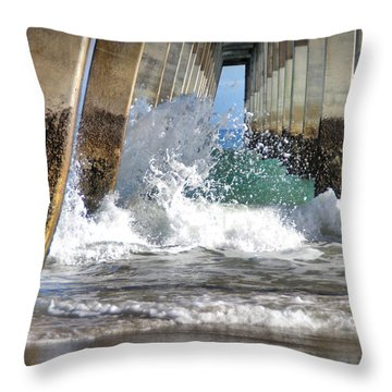 Wave Action Throw Pillow by Phil Mancuso