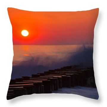 Breaking Wave At Sunrise Throw Pillow