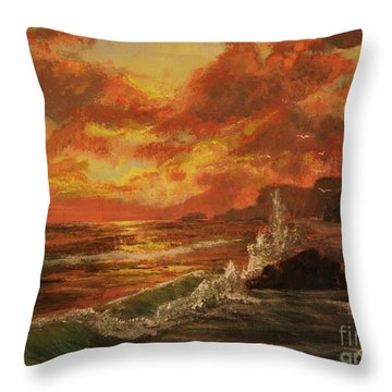 Throw Pillow featuring the painting Wave Crash by Vanessa Palomino