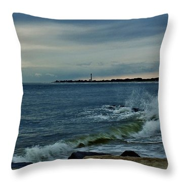 Throw Pillow featuring the photograph Wave Crashing At Cape May Cove by Ed Sweeney