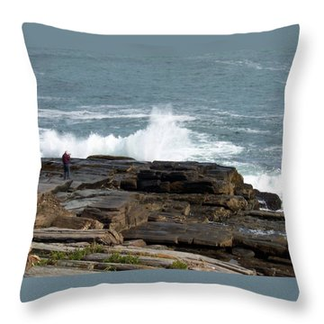 Wave Hitting Rock Throw Pillow