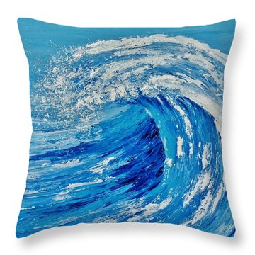 Throw Pillow featuring the painting Wave by Katherine Young-Beck