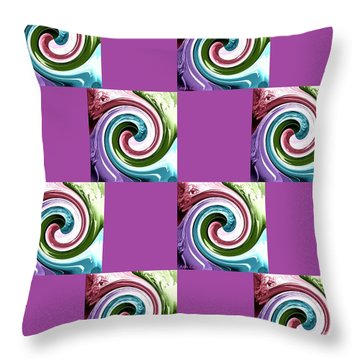 Throw Pillow featuring the digital art Wave Of Purple 2 by Ann Calvo