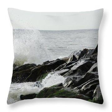 Wave On Rocks Throw Pillow by Maureen E Ritter