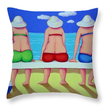 Wave Watch - Beach Throw Pillow by Rebecca Korpita