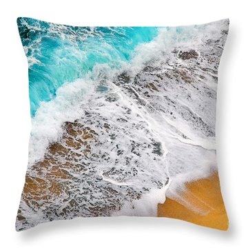Waves Abstract Throw Pillow by Silvia Ganora