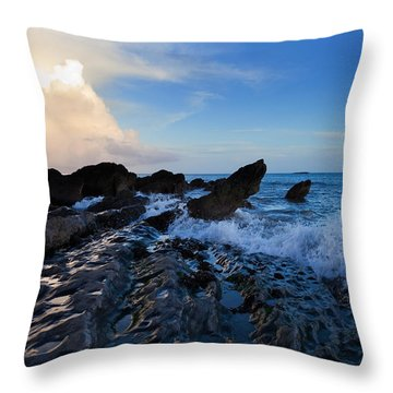 Waves And Rocks , Dungarvan Bay, County Throw Pillow