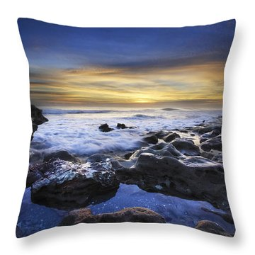 Waves At Coral Cove Beach Throw Pillow by Debra and Dave Vanderlaan