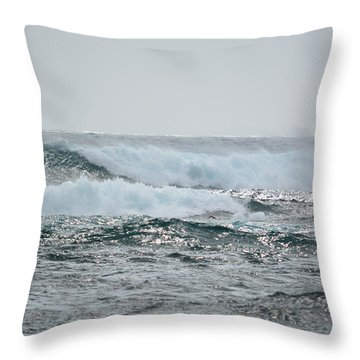 Waves At Koloa Throw Pillow