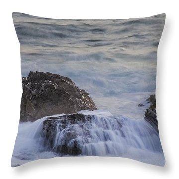 Waves Breaking Off Marginal Way Throw Pillow
