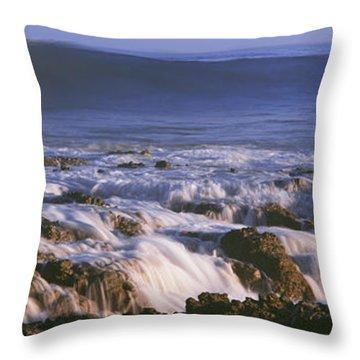 Waves Breaking On The Beach, Playa Los Throw Pillow