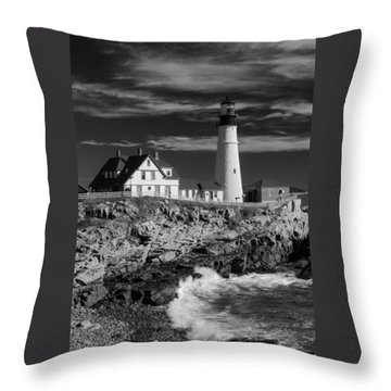 Waves Crashing Throw Pillow by Guy Whiteley