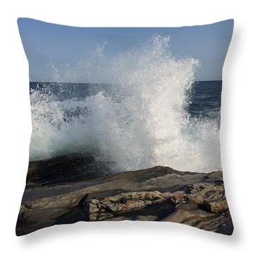 Waves Crashing On Rocky Maine Coast Throw Pillow